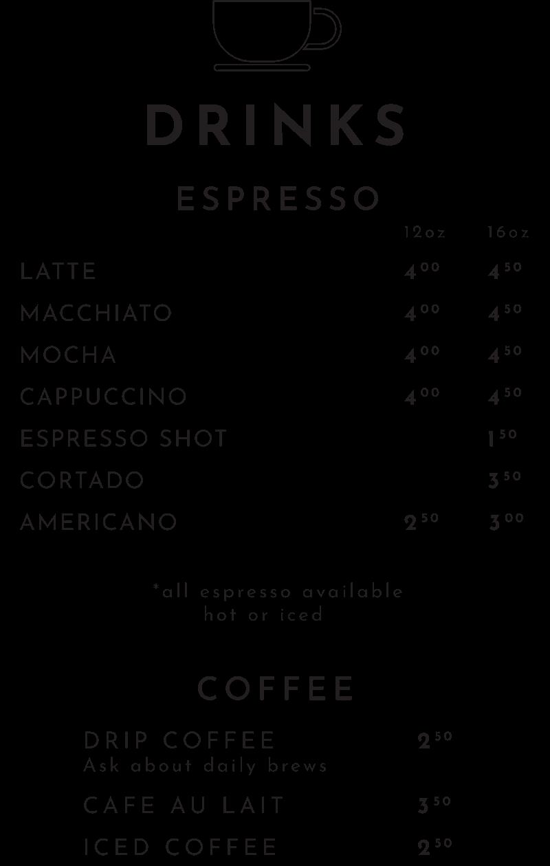 Espresso and Coffee Menu