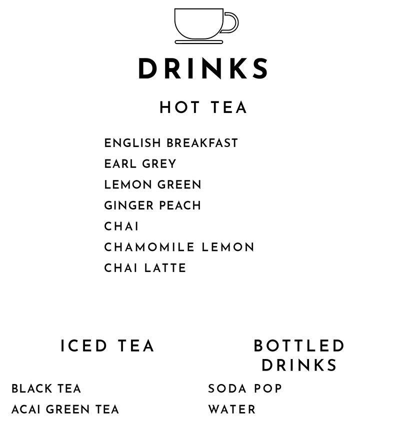 Hot and Iced Tea and Bottled Drinks Menu